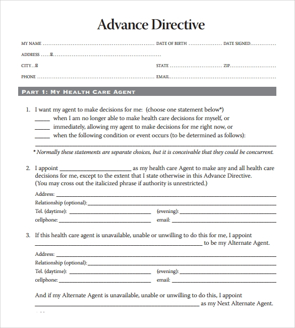 10 Advance Directive Forms Samples Examples Format