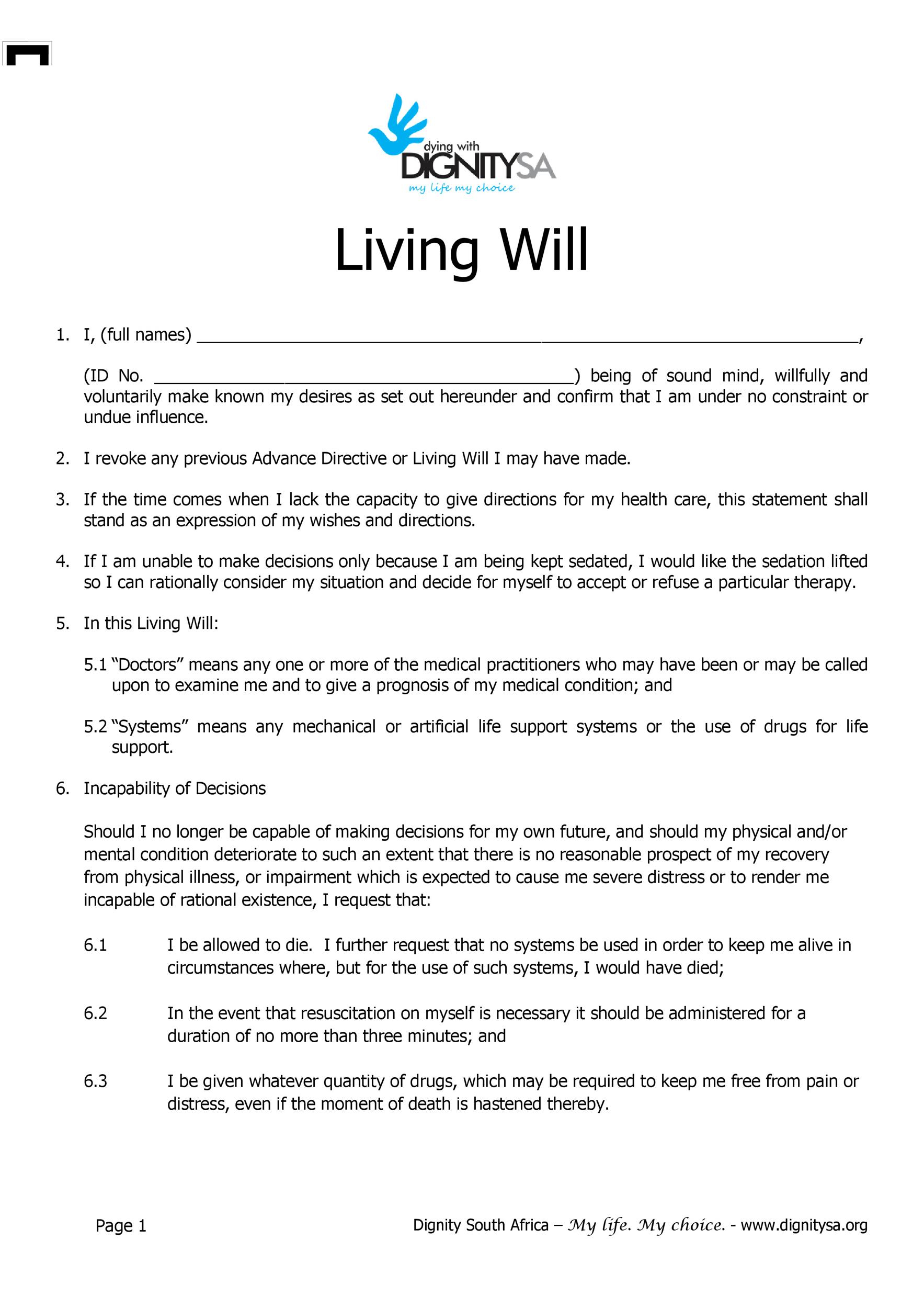 50 Free Living Will Templates Forms ALL STATES