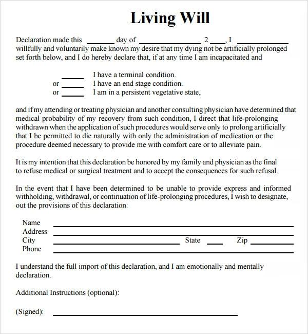 9 Sample Living Wills PDF Sample Templates