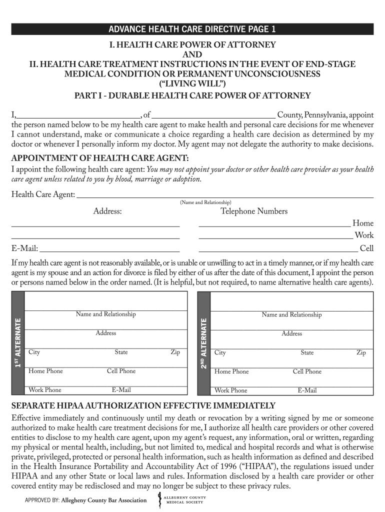 Allegheny County Bar Association Advanced Fill Online