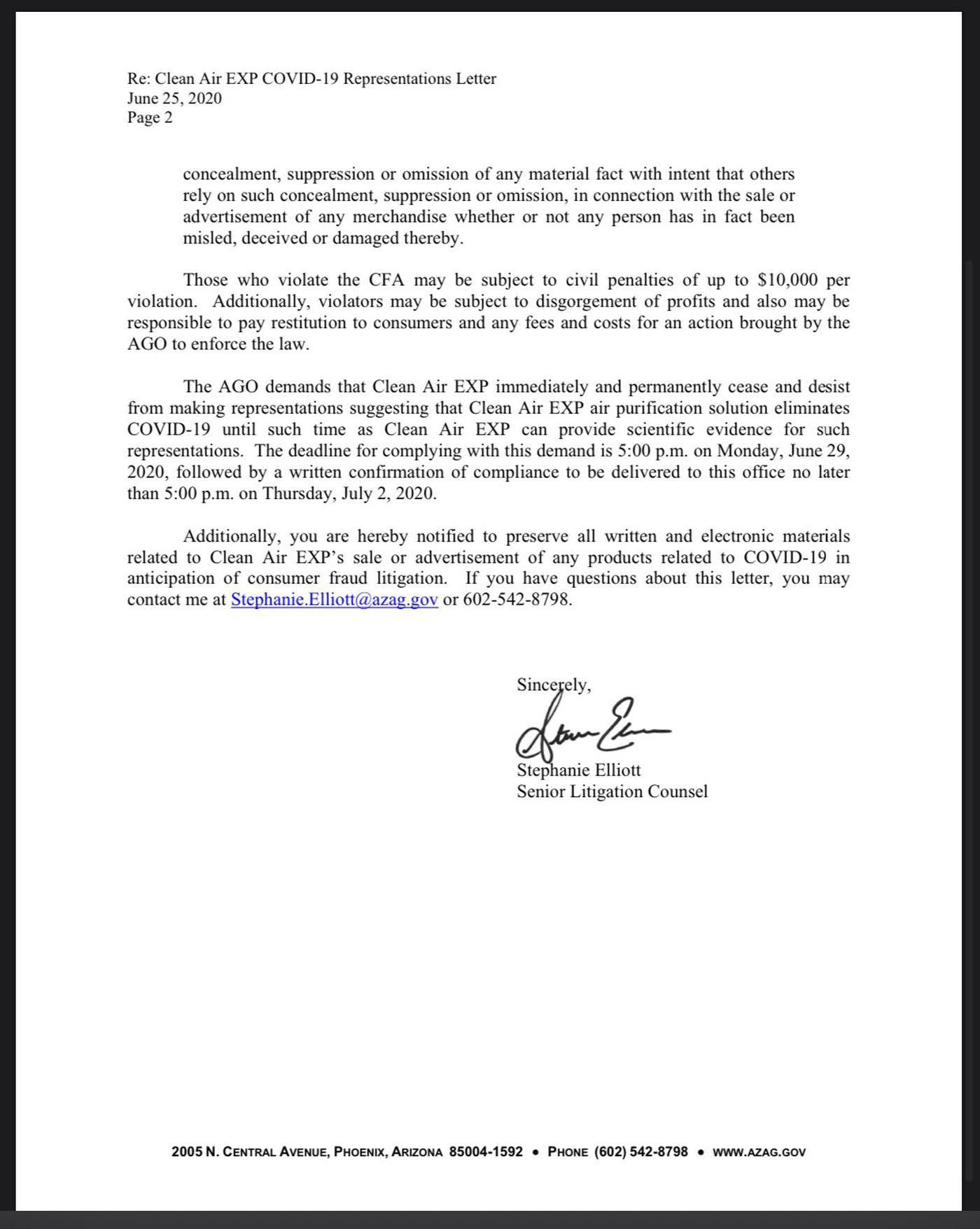 Arizona Attorney General s Office Sends Cease And Desist