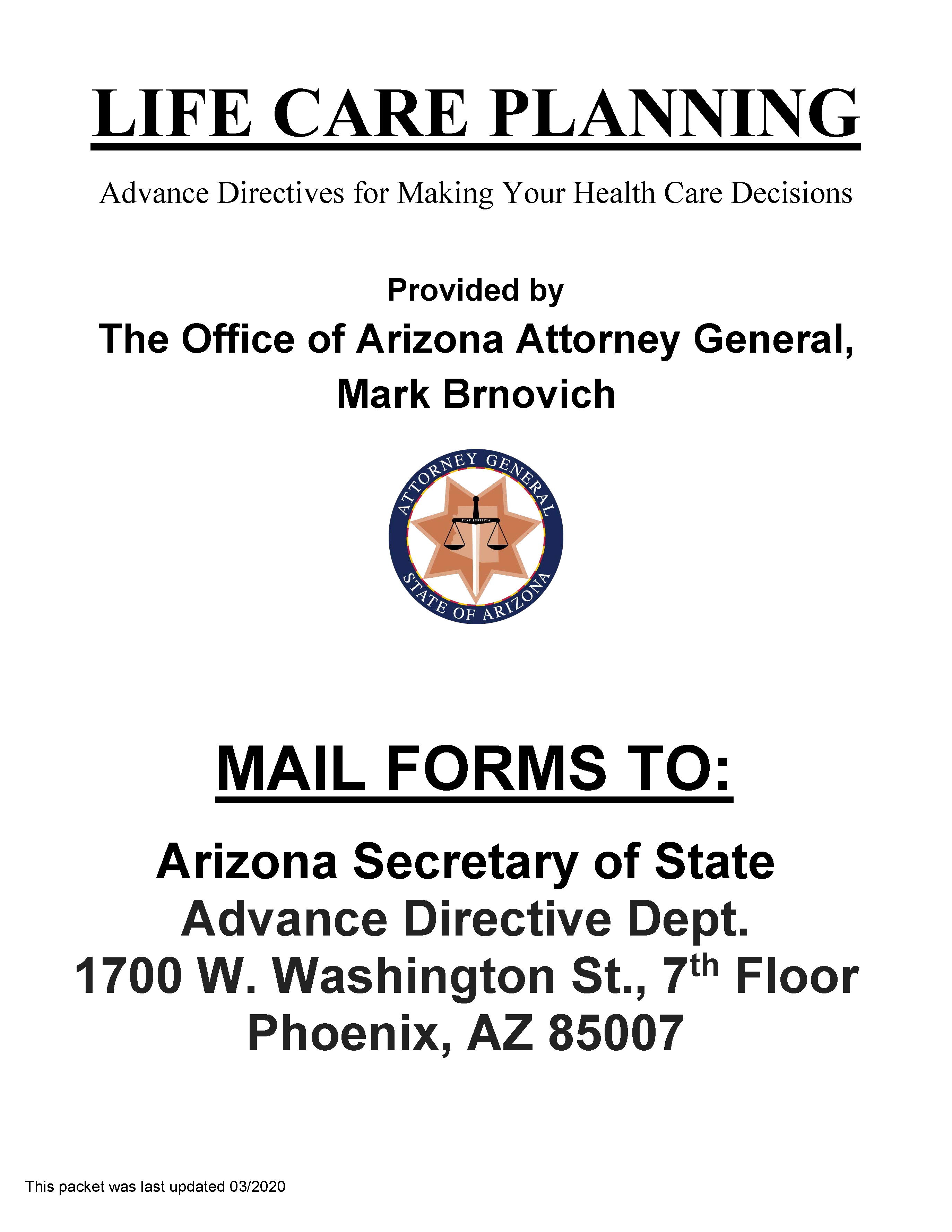 Arizona Living Will Form Free Printable Legal Forms