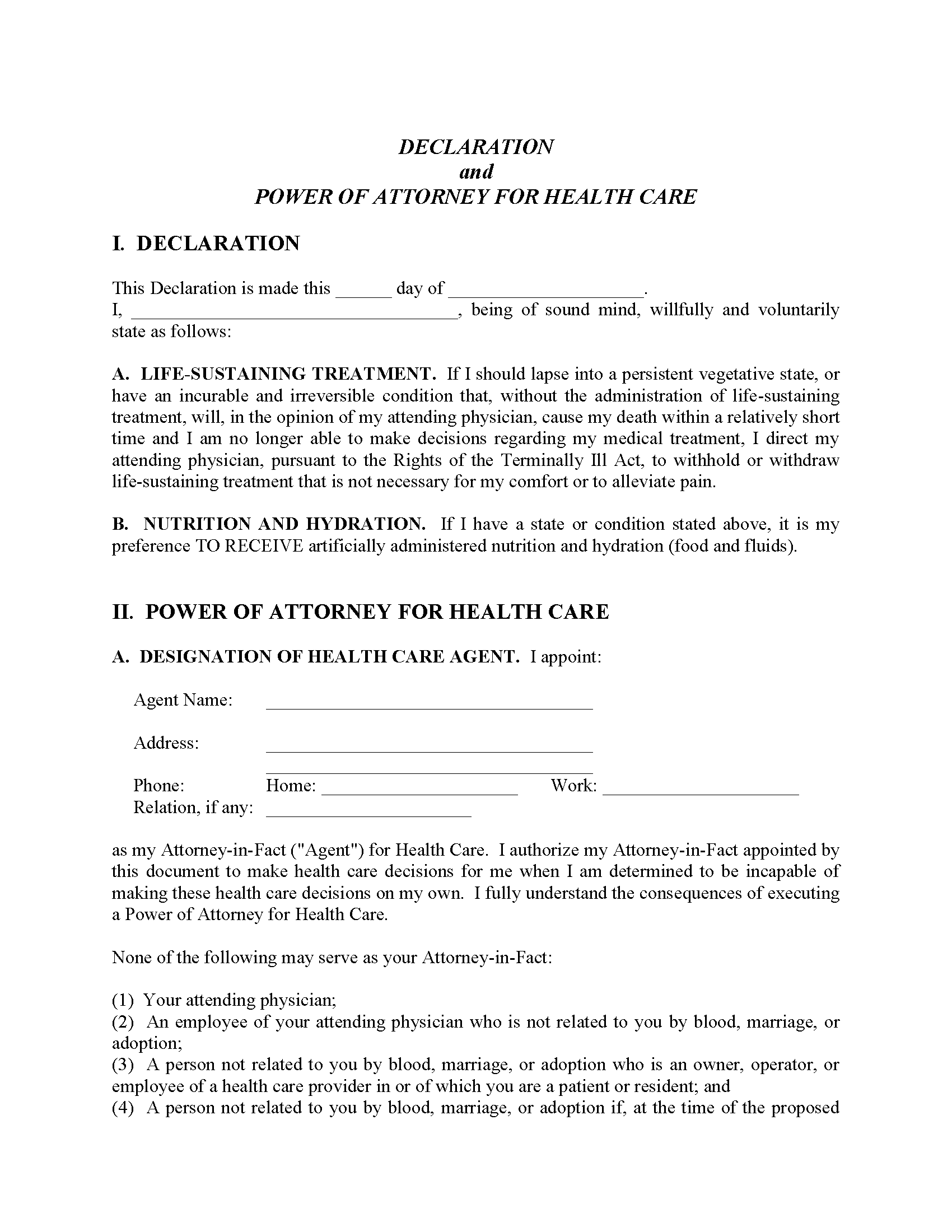California Living Will Form Free Printable Legal Forms