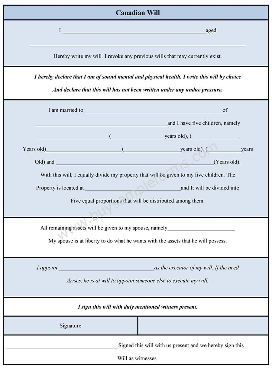 Canadian Will Form Sample Forms