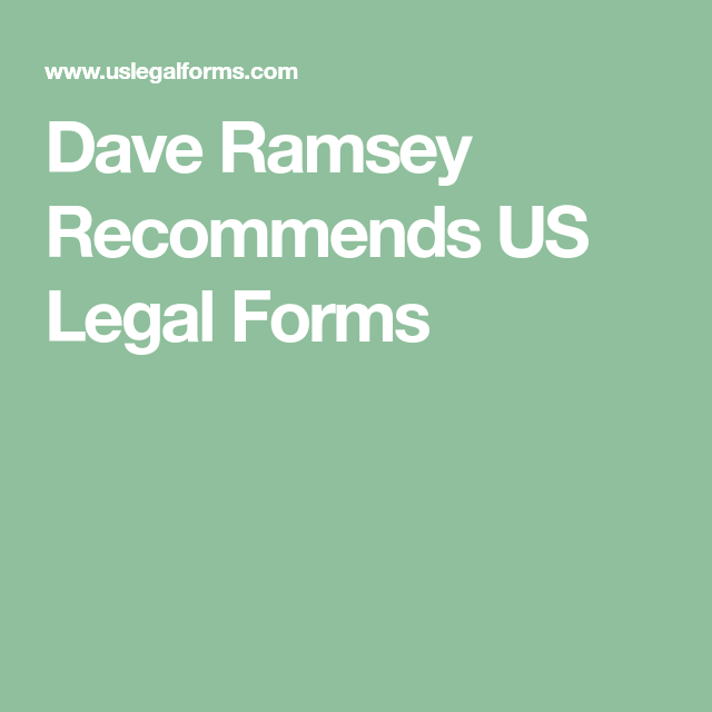 Dave Ramsey Recommends US Legal Forms Legal Forms Dave