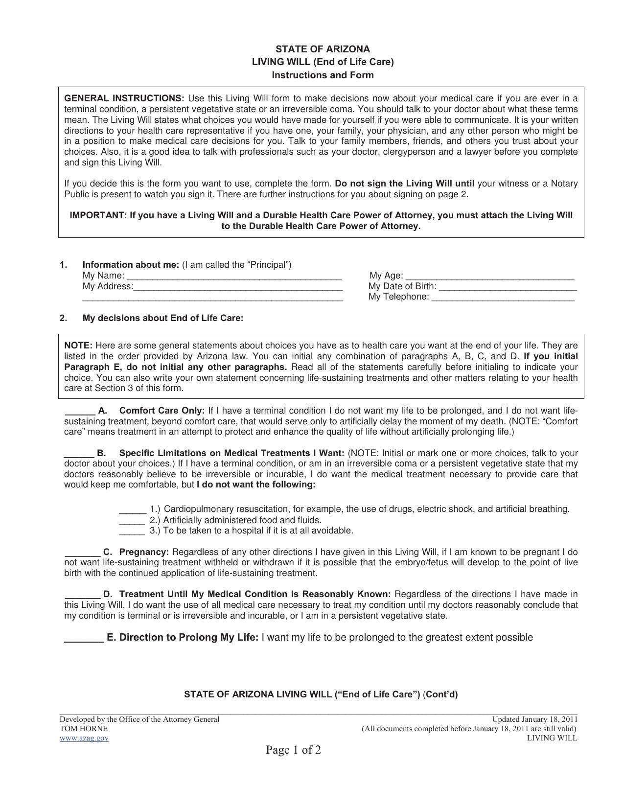 Download Arizona Living Will Form Advanced Directive