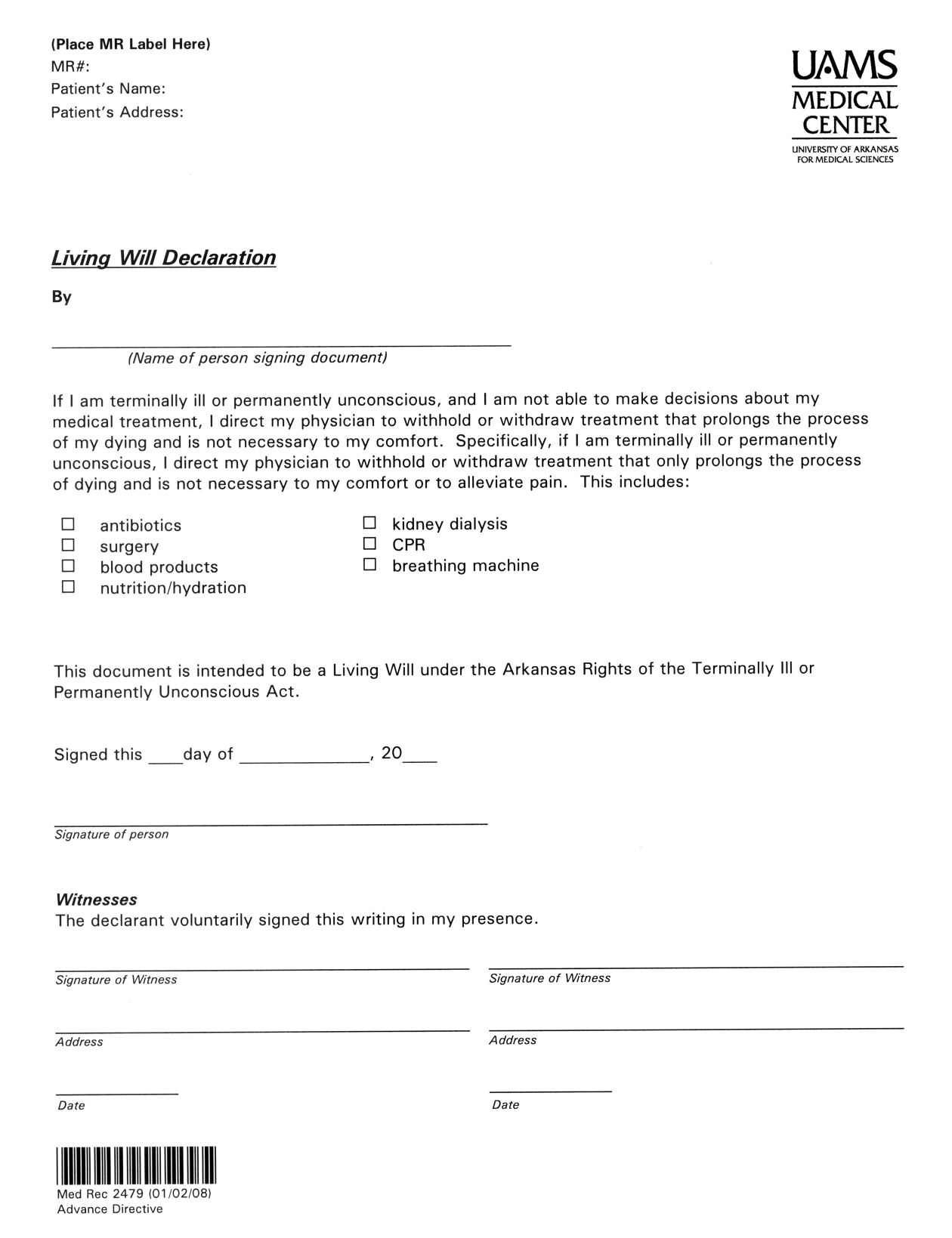 Download Arkansas Living Will Form Advanced Directive