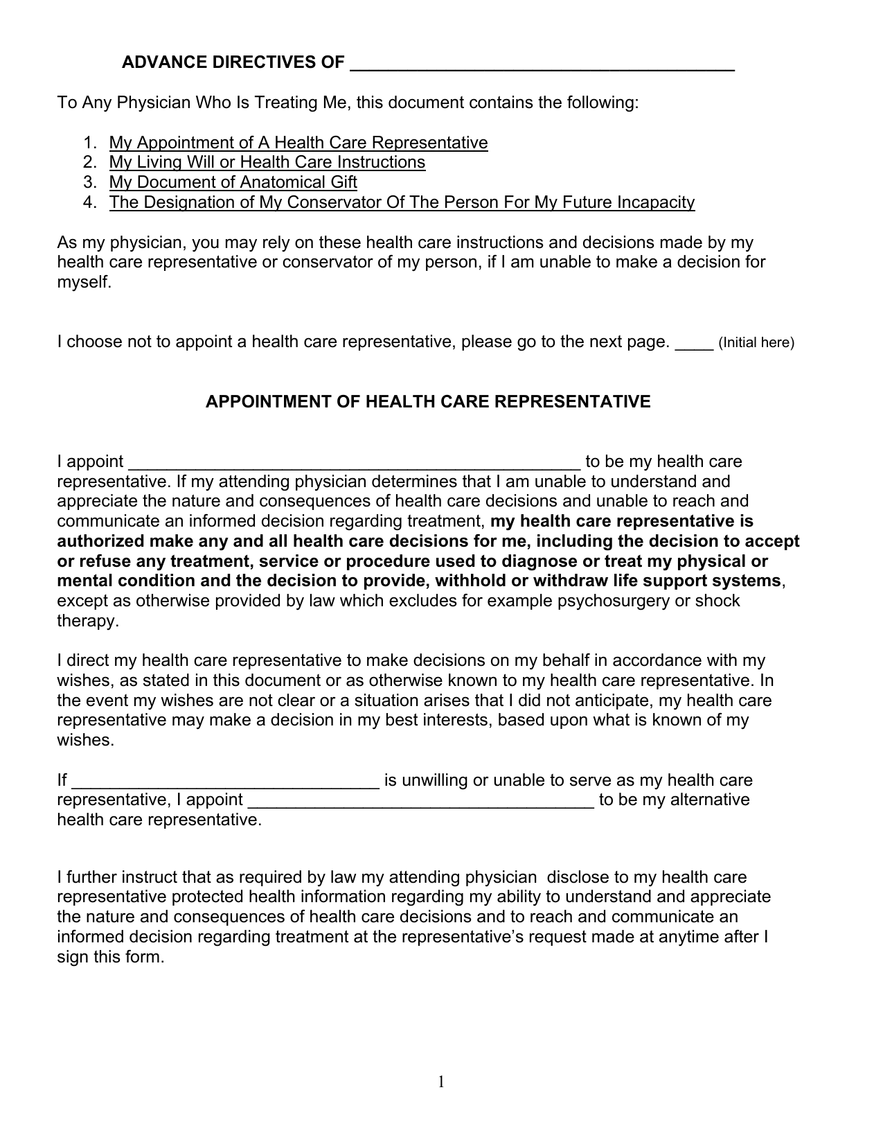 Download Connecticut Living Will Form Advance Directive