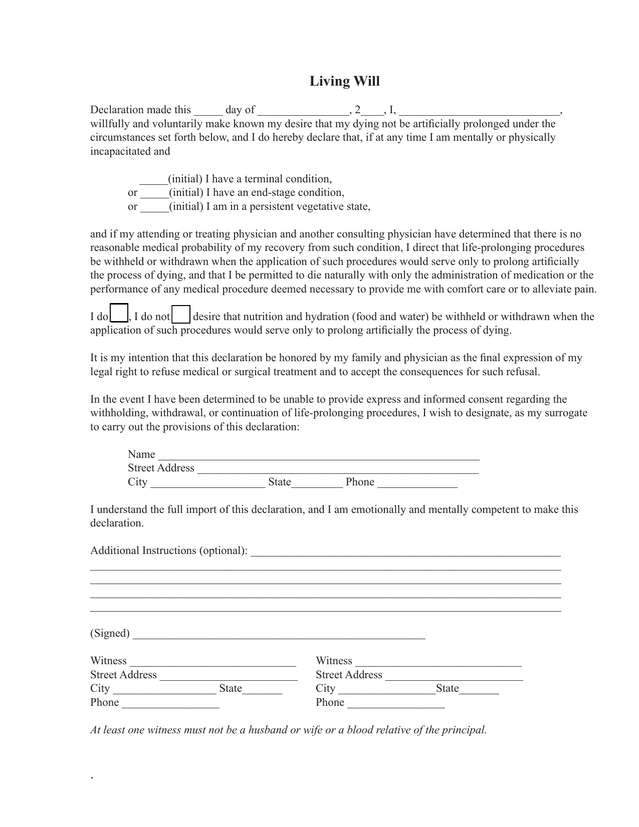 Download Florida Living Will Form Advance Directive