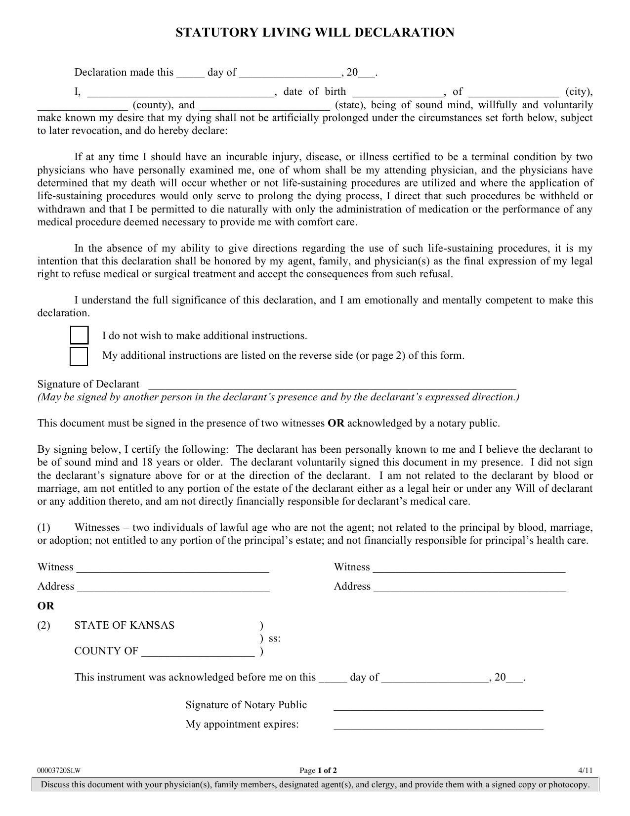 Download Kansas Living Will Form Advance Directive PDF