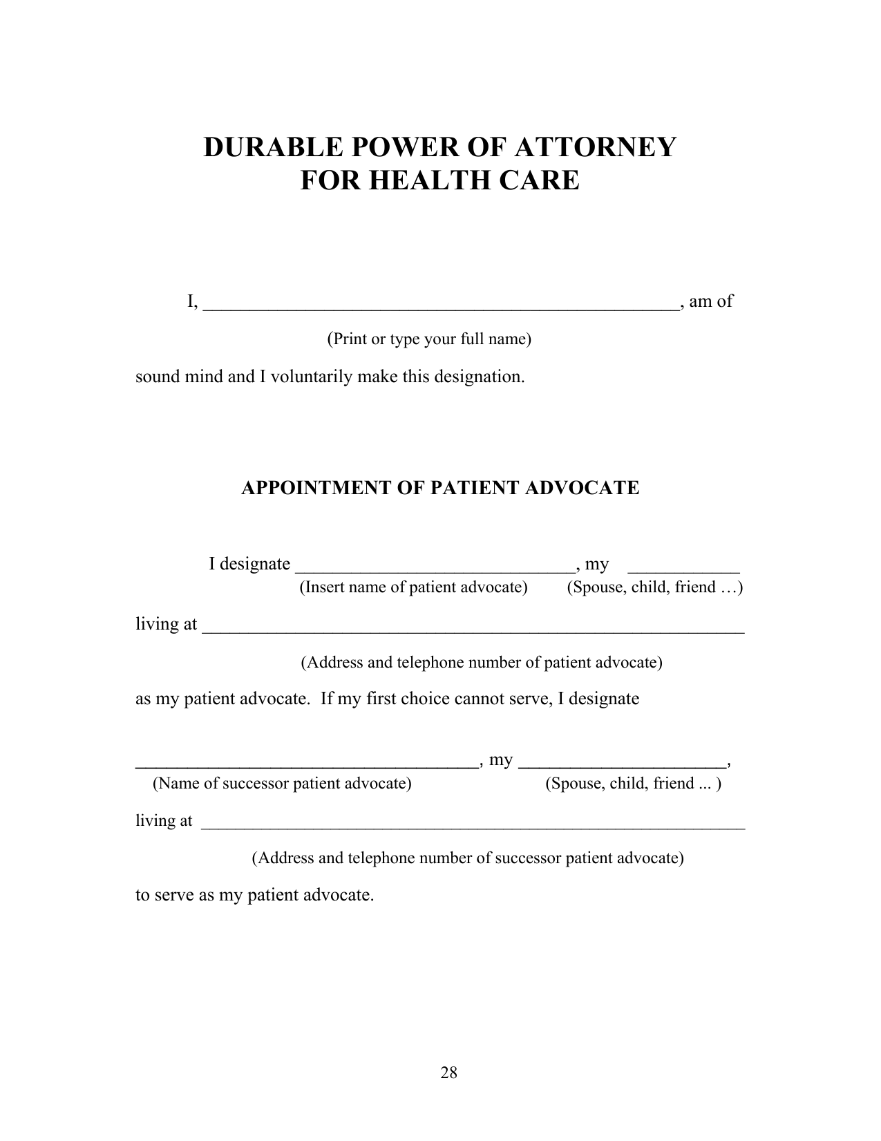 Download Michigan Living Will Form Advance Directive