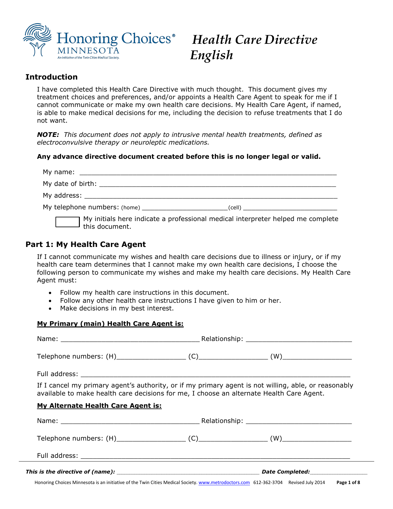 Download Minnesota Living Will Form Advance Directive