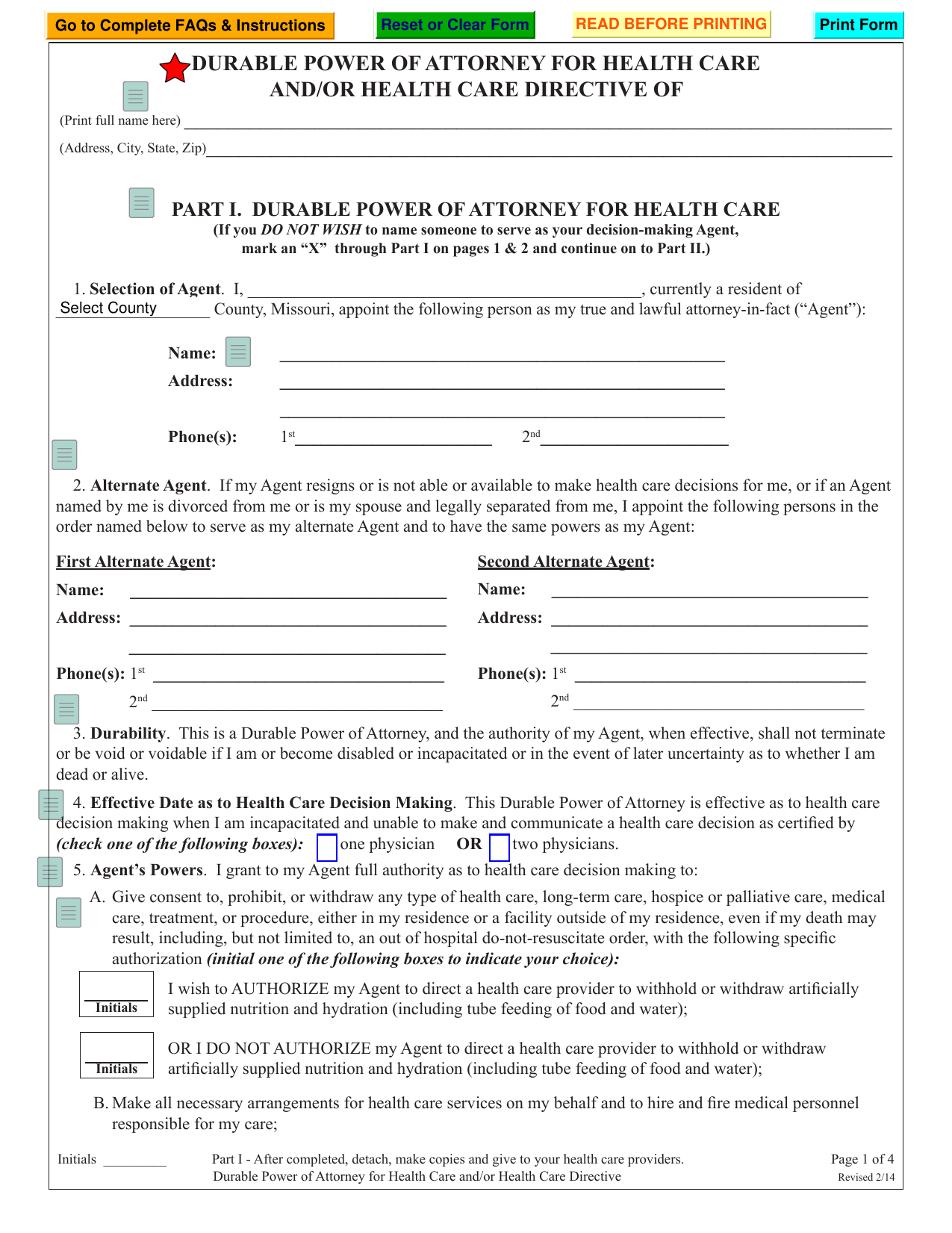 Download Missouri Living Will Form Advance Directive