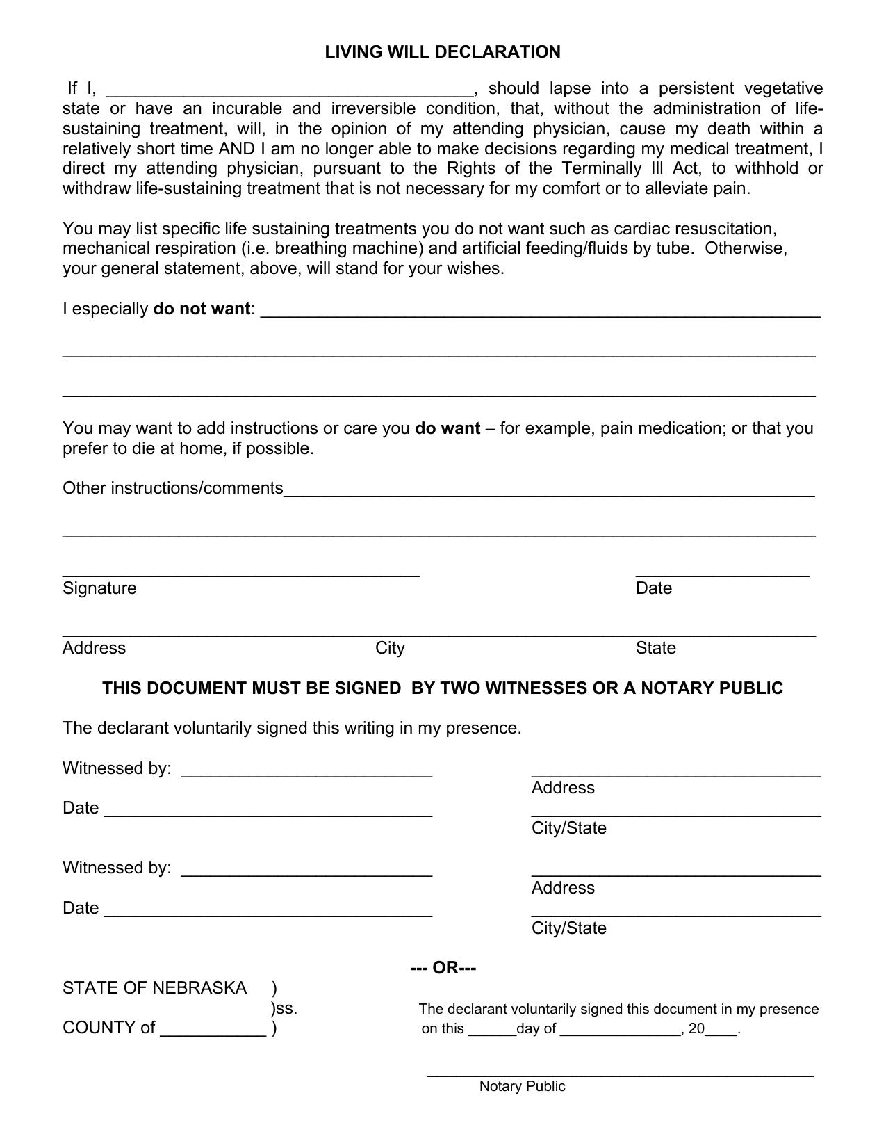 Download Nebraska Living Will Form Advance Directive