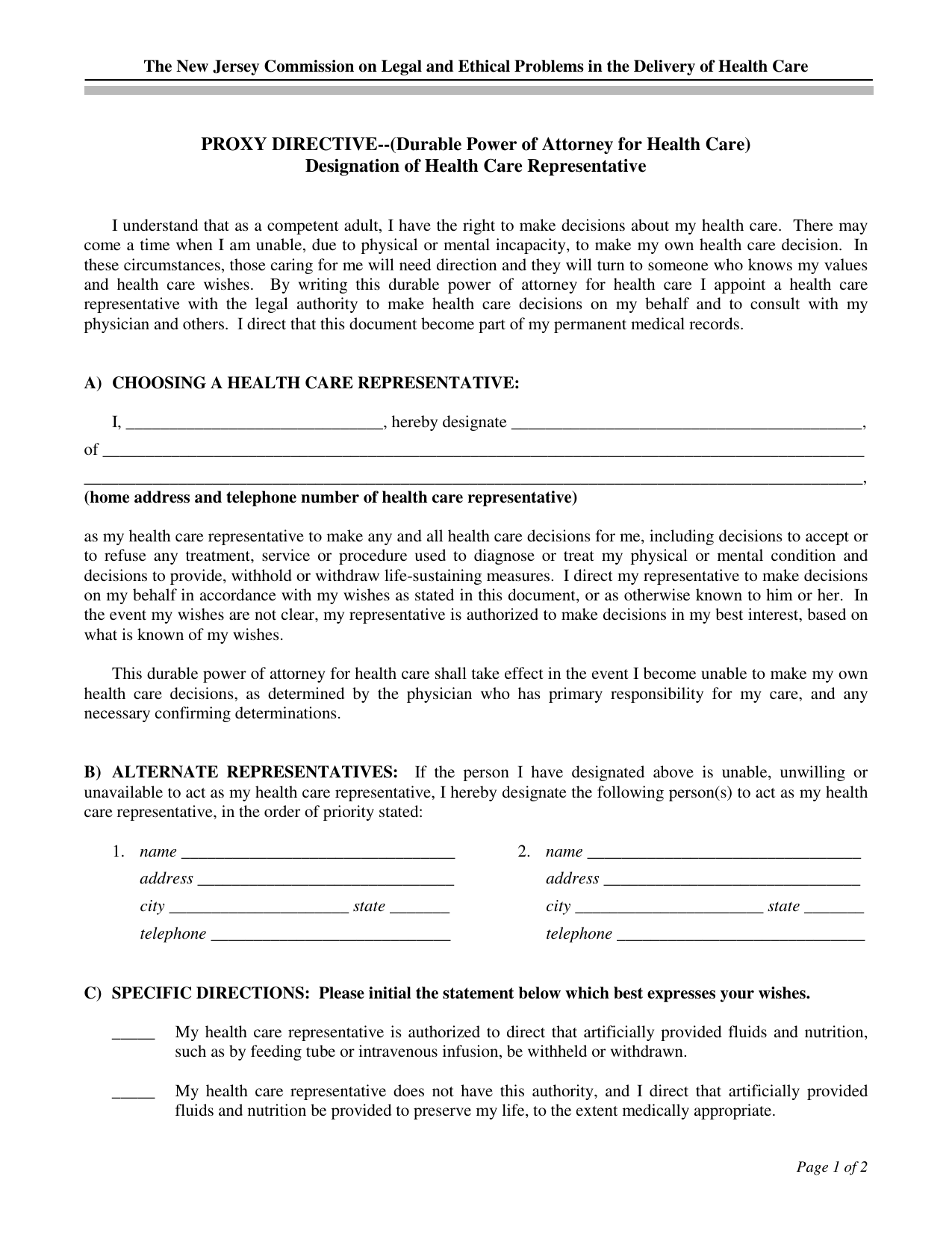 Download New Jersey Living Will Form Advance Directive