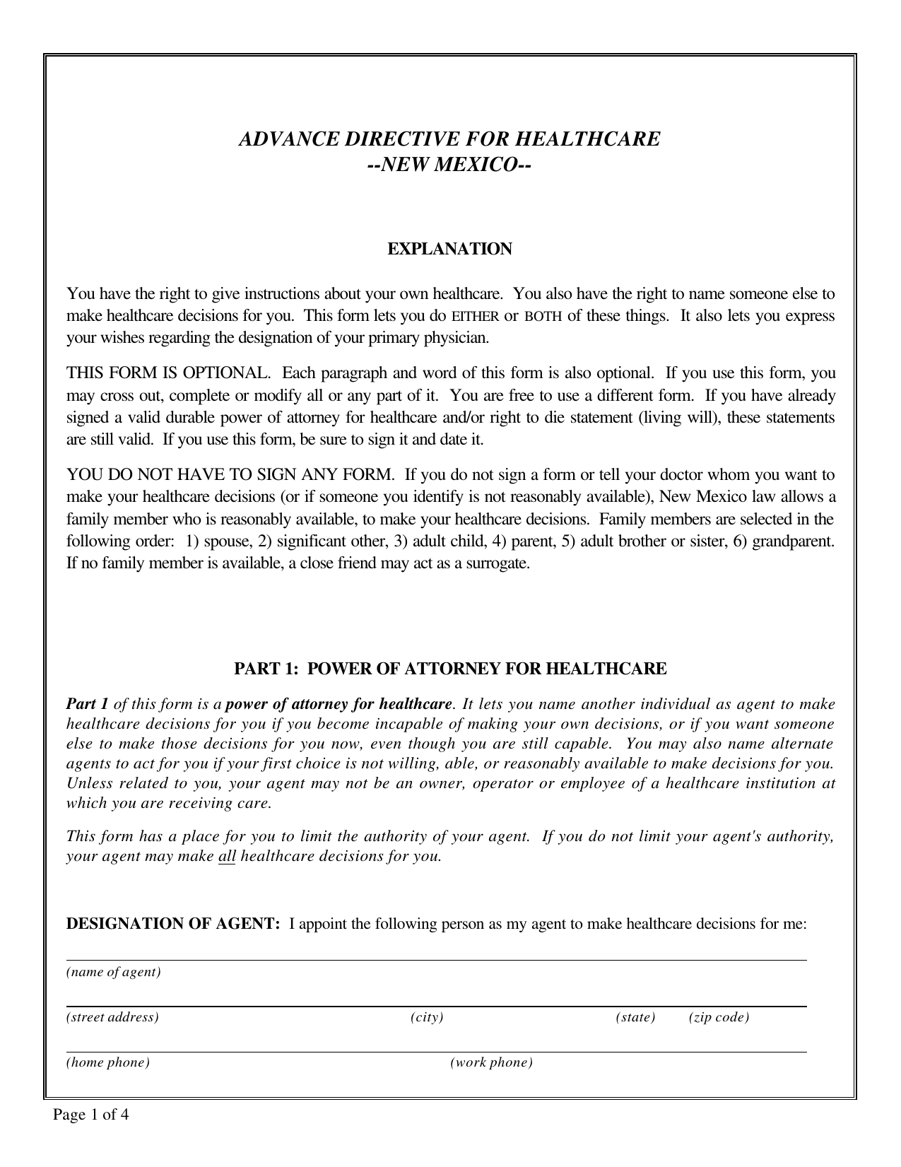 Download New Mexico Living Will Form Advance Directive