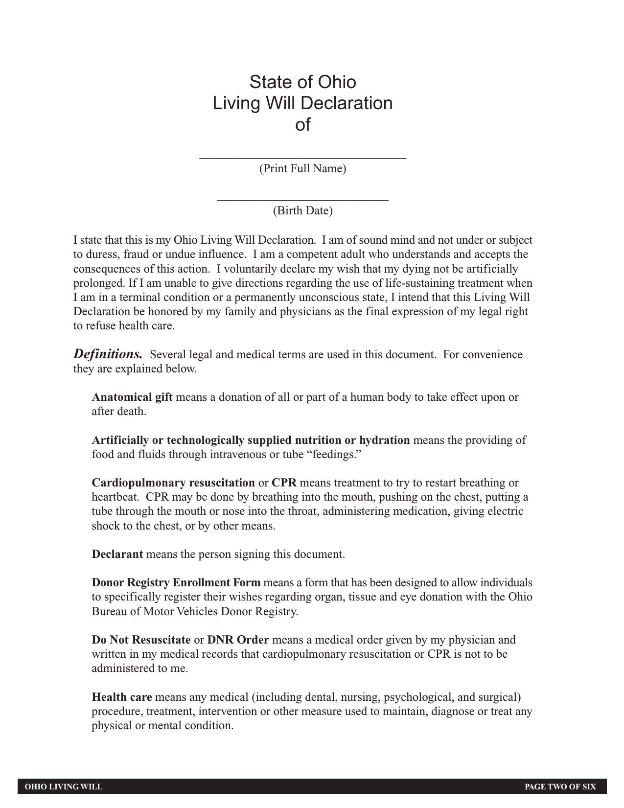 Download Ohio Living Will Form Advance Directive PDF