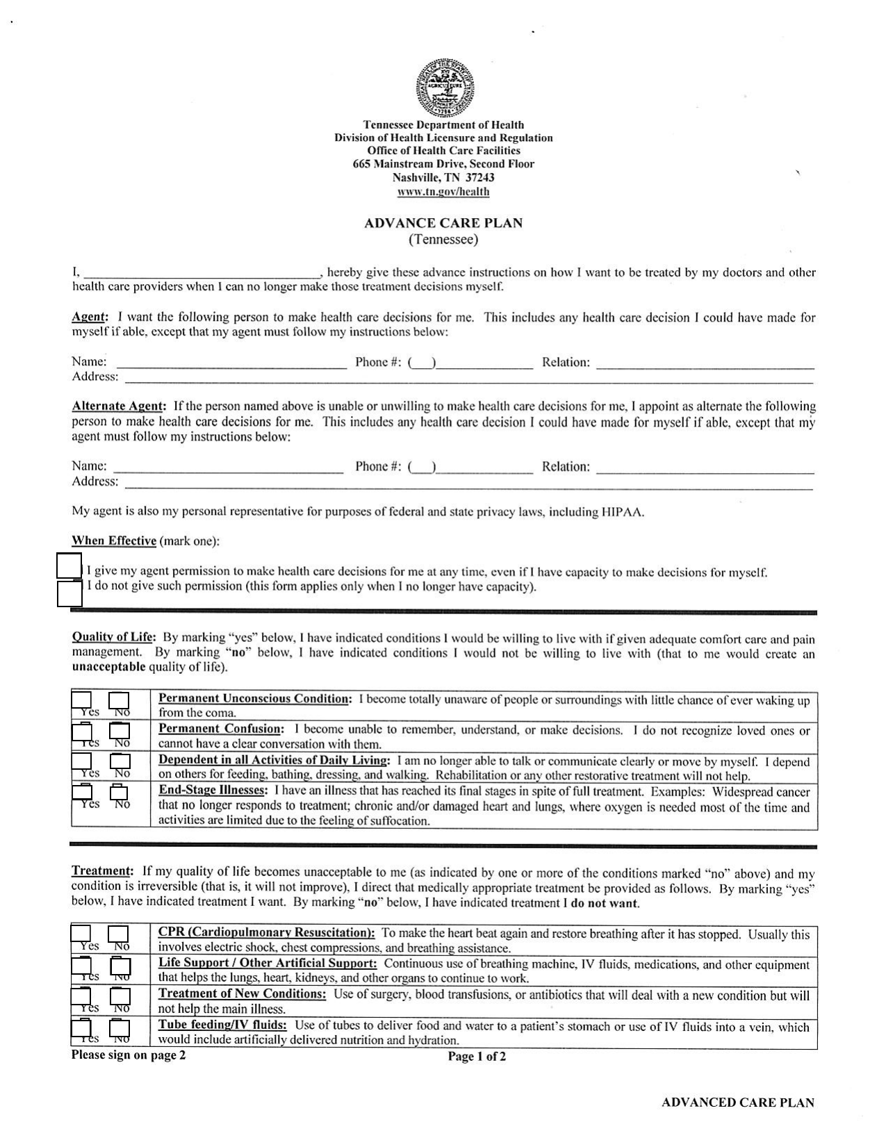 Download Tennessee Living Will Form Advance Directive