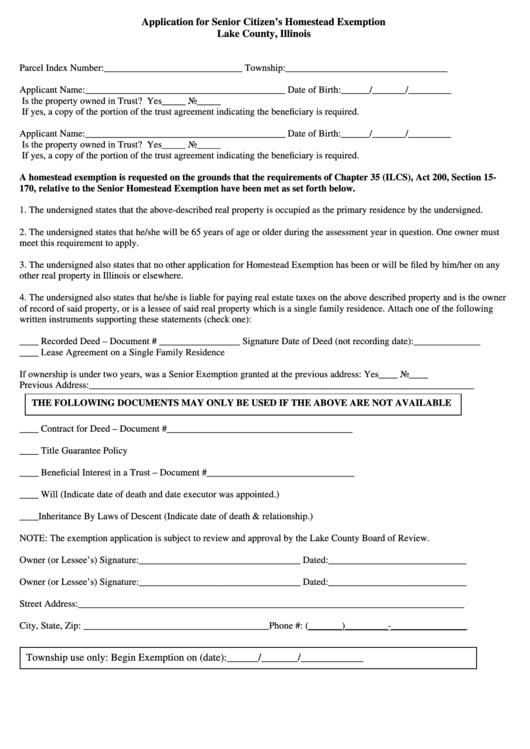 Fillable Application For Senior Citizen S Homestead
