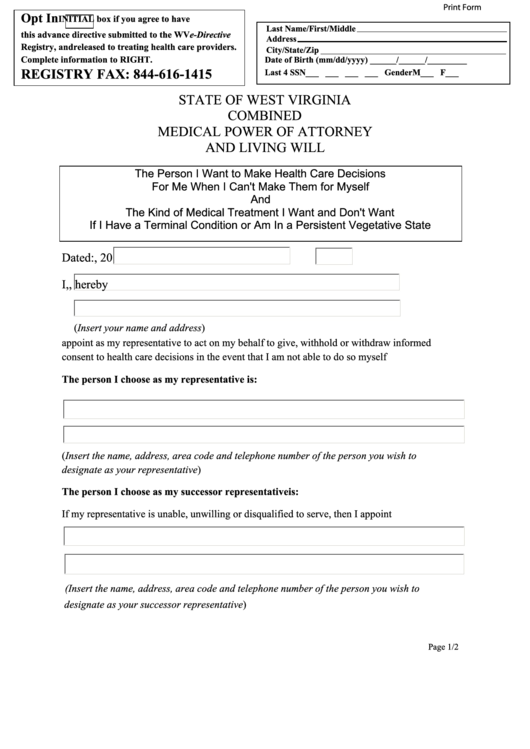 Fillable Combined Medical Power Of Attorney And Living