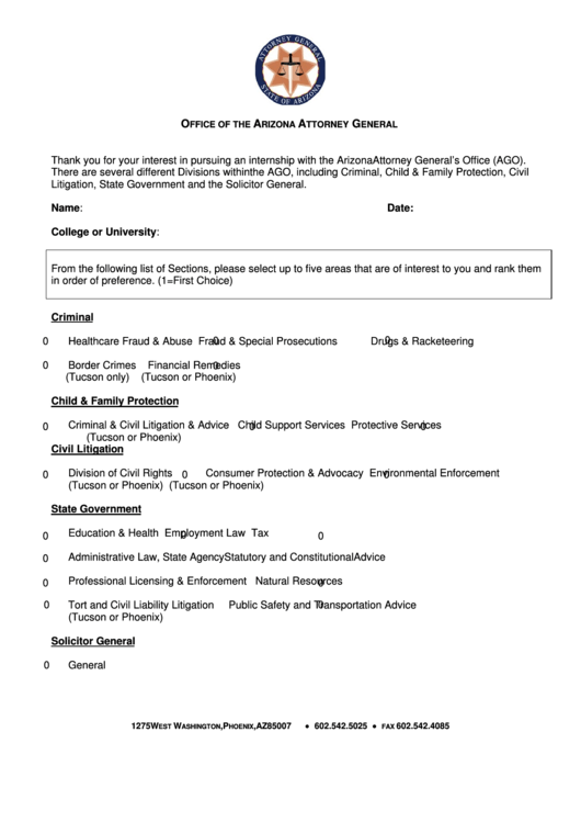 Fillable Office Of The Arizona Attorney General Form