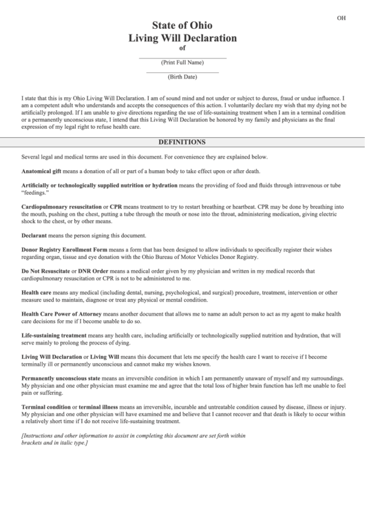 Fillable State Of Ohio Living Will Declaration Template