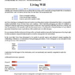 Florida Living Will Form Advance Directive Living Will
