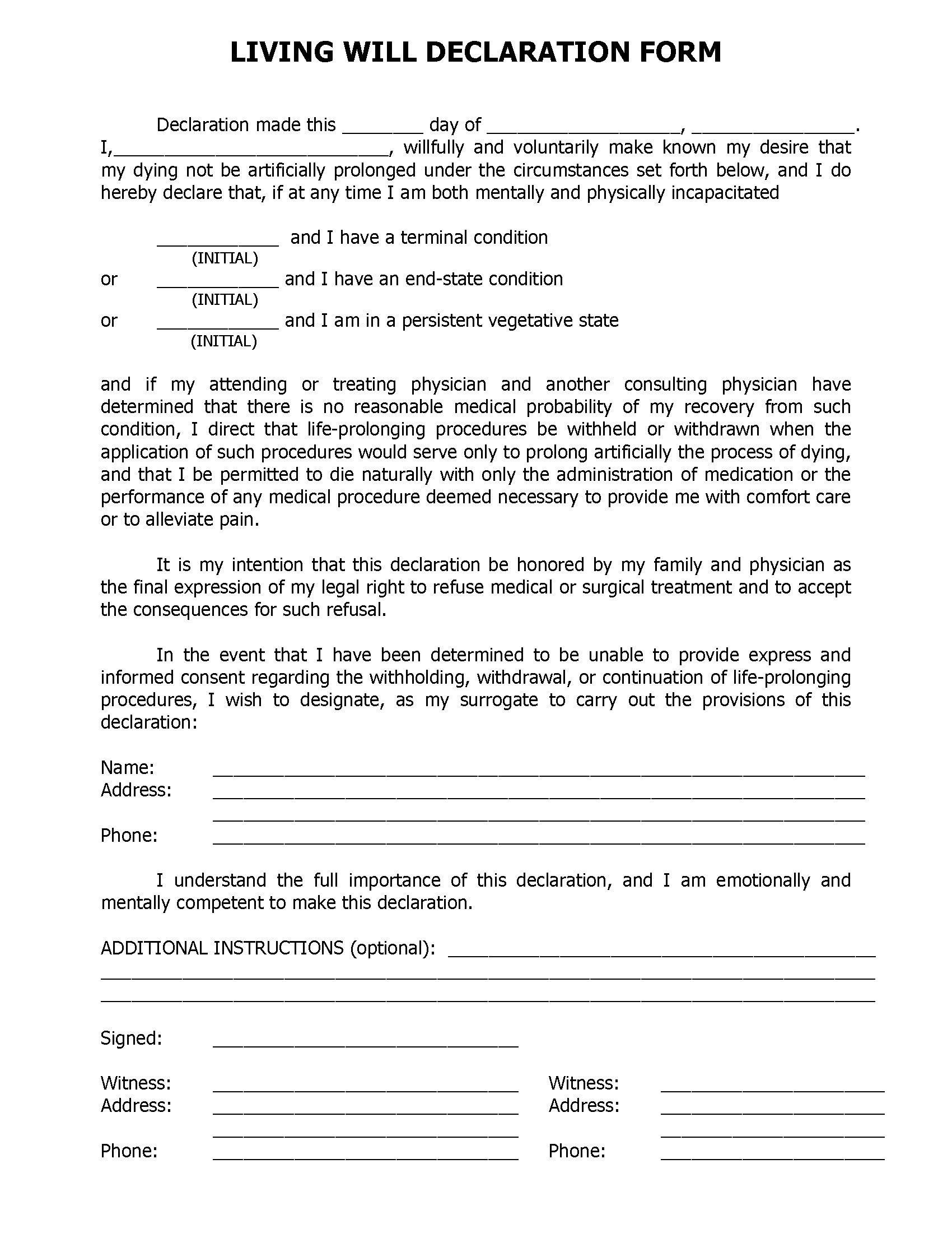 Florida Living Will Form Free Printable Legal Forms