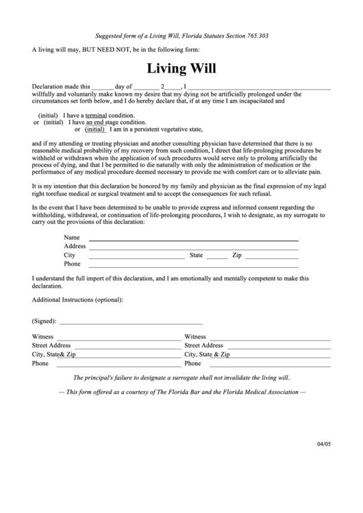 Florida Living Will Form Printable Pdf Download