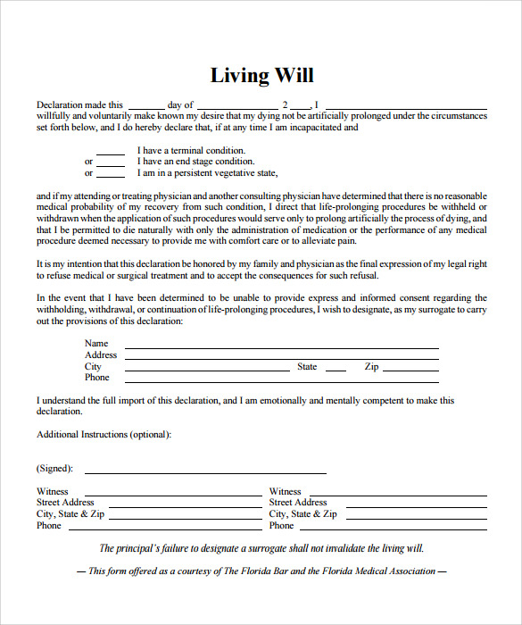 FREE 7 Sample Living Will In PDF MS Word
