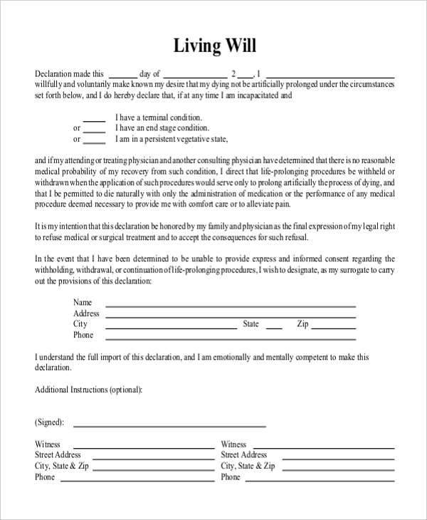 FREE 8 Sample Free Living Will Forms In PDF MS Word