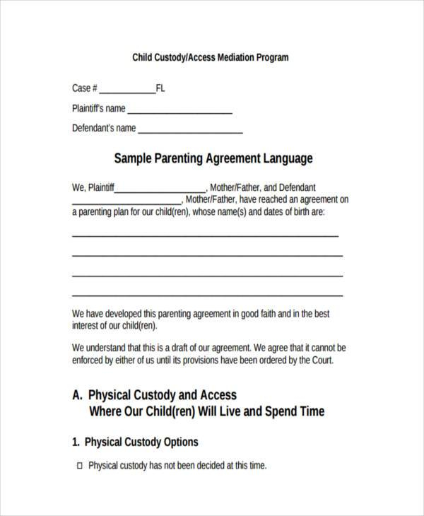 FREE 9 Custody Agreement Forms In PDF MS Word