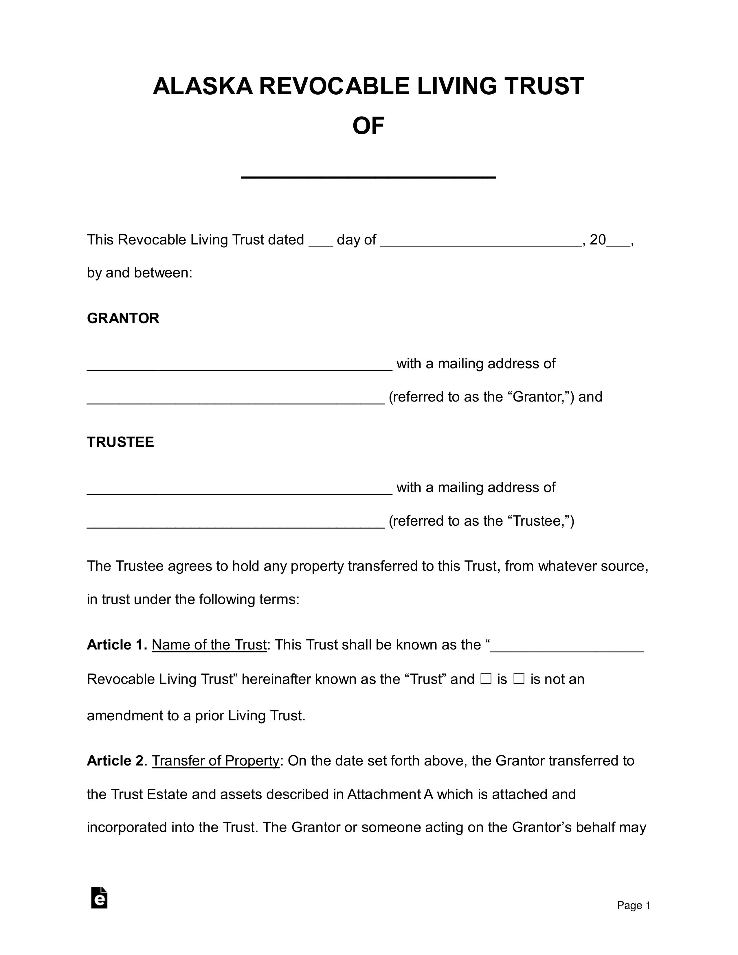 Free Alaska Revocable Living Trust Form PDF Word EForms