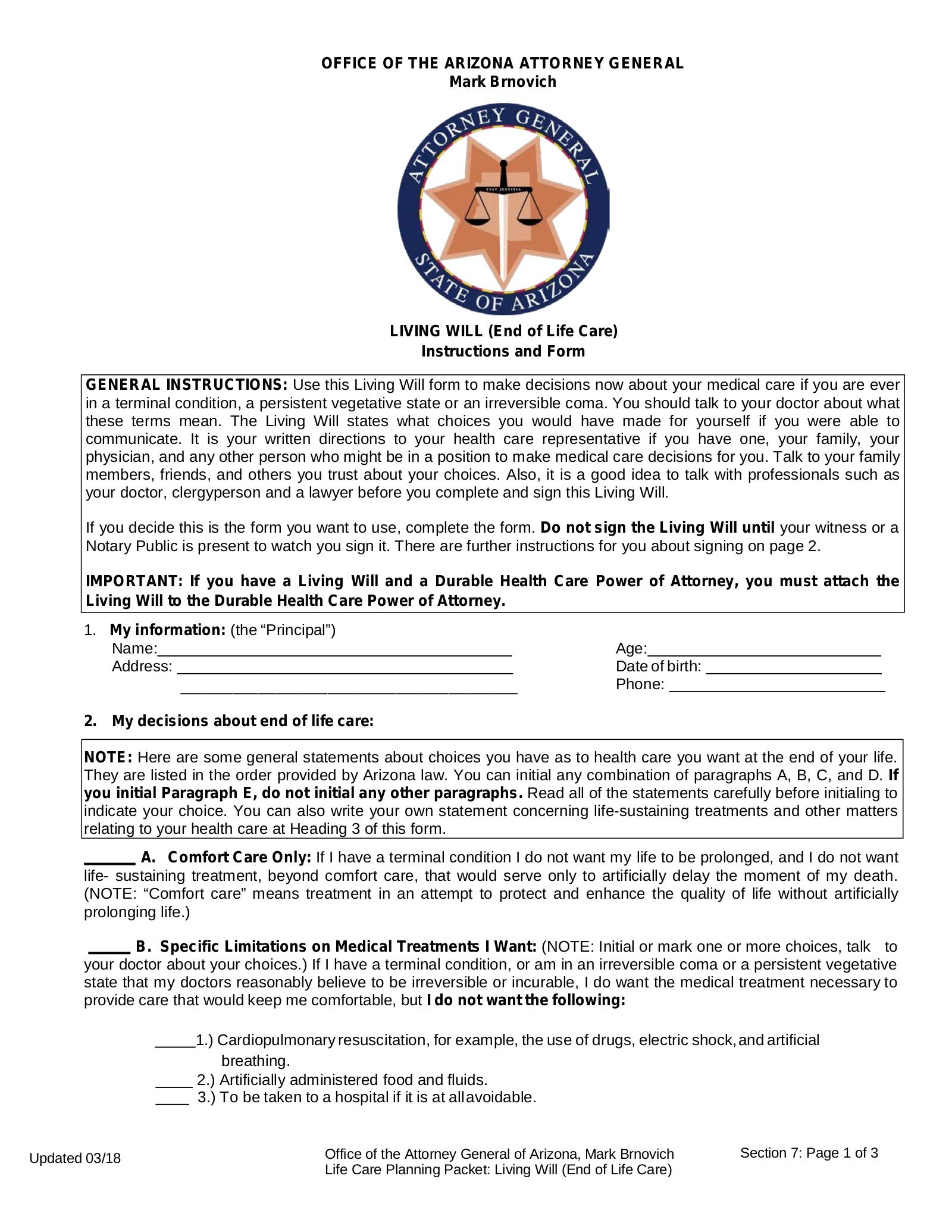 Free Arizona Living Will Form PDF EForms