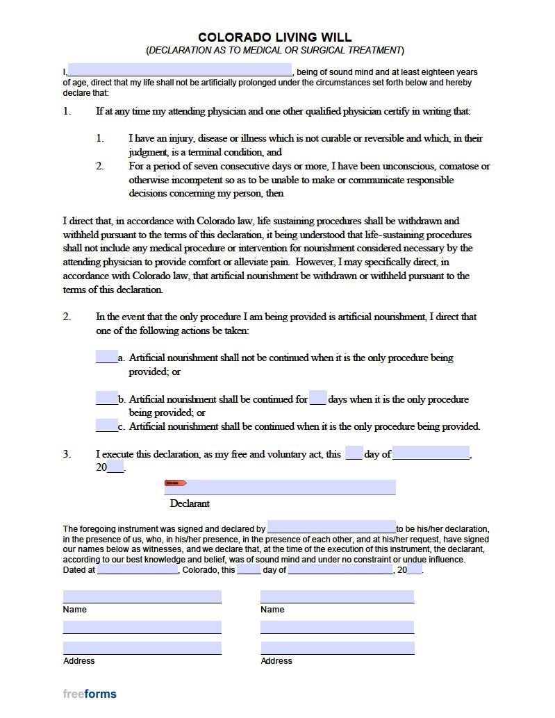 Free Colorado Living Will Form PDF