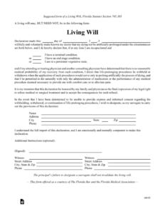 Free Florida Living Will Form PDF EForms