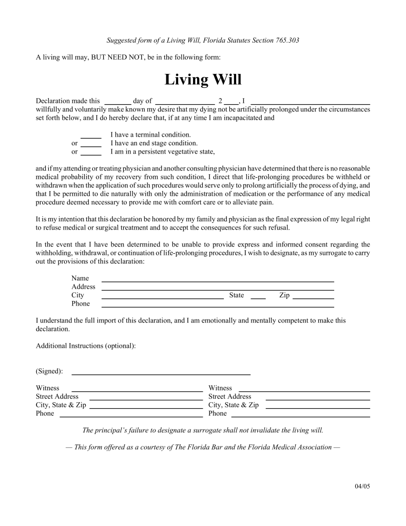 Free Florida Living Will Form PDF EForms Free