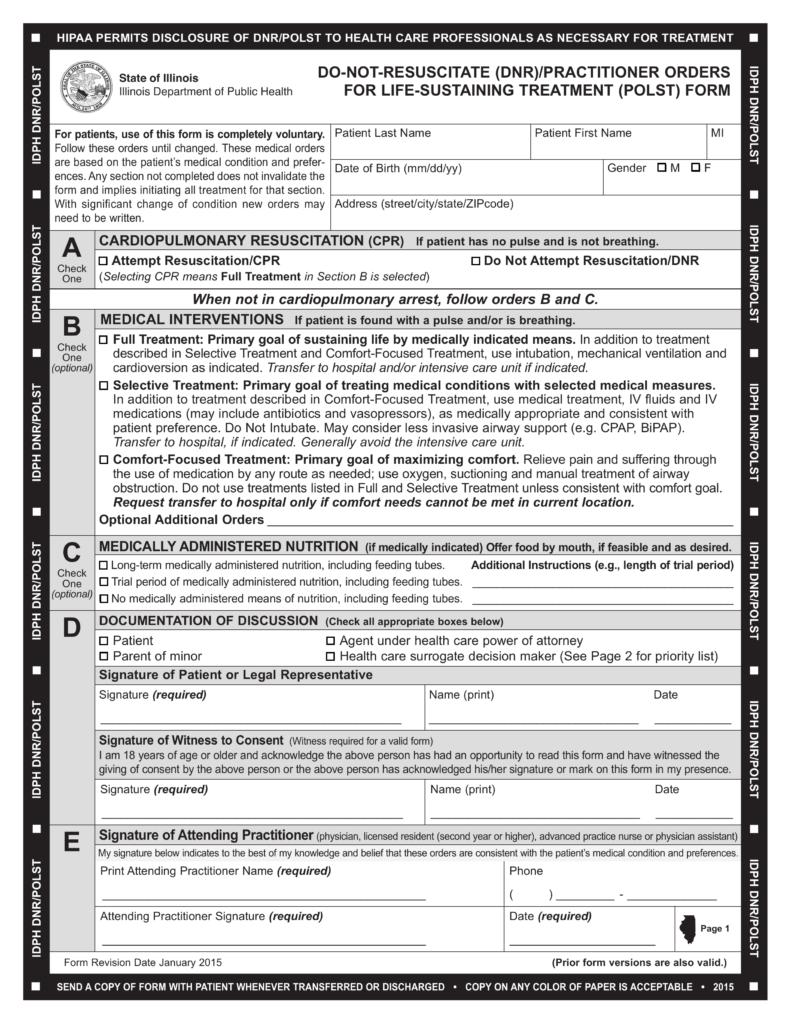 Free Illinois Do Not Resuscitate DNR Order Form PDF