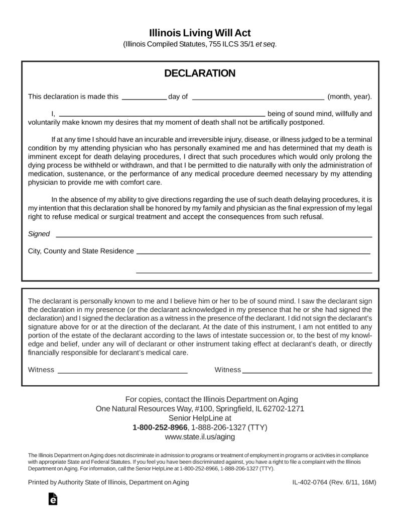 Free Illinois Living Will Form Declaration PDF EForms