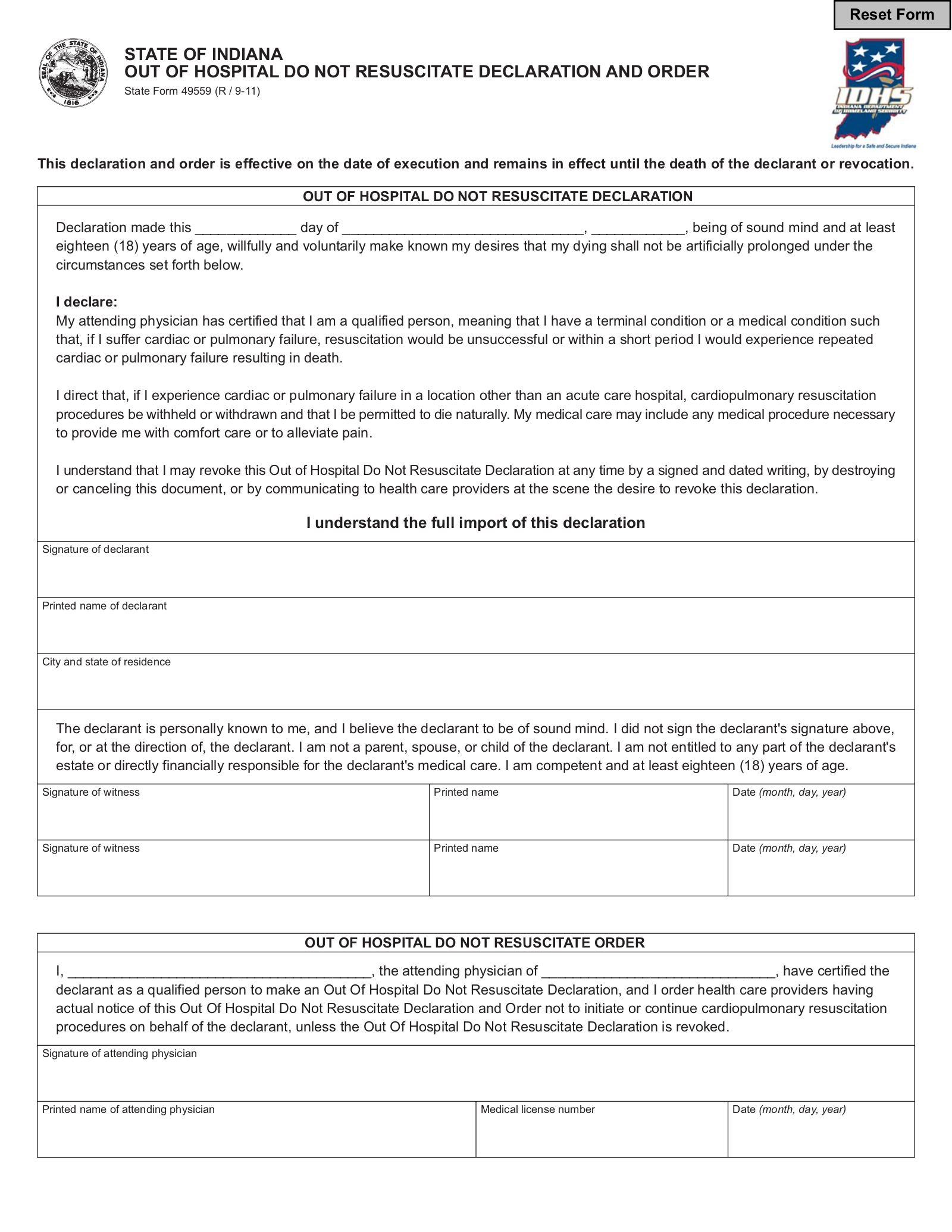Free Indiana Advance Directive Form PDF EForms