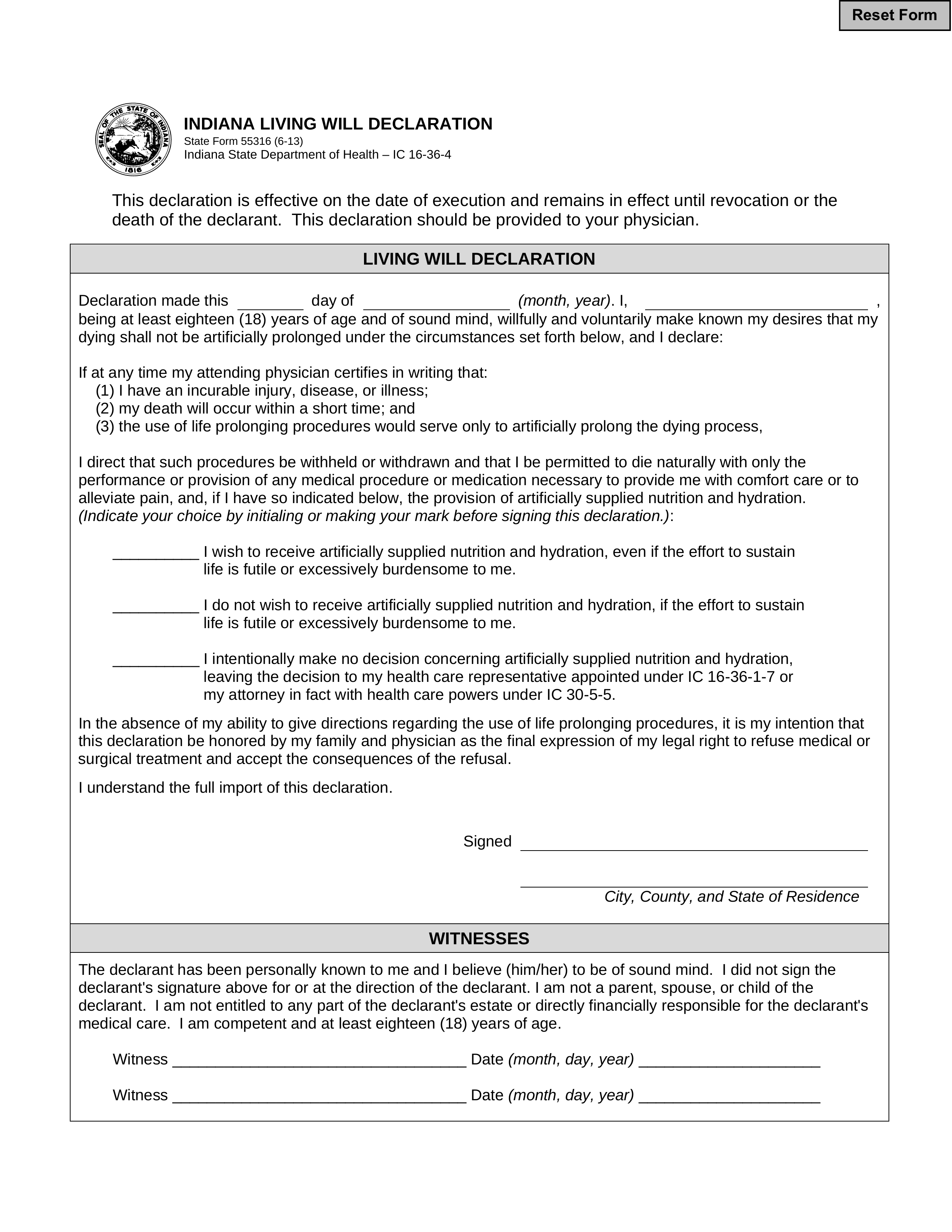 Free Indiana Living Will Declaration Form 55316 Word