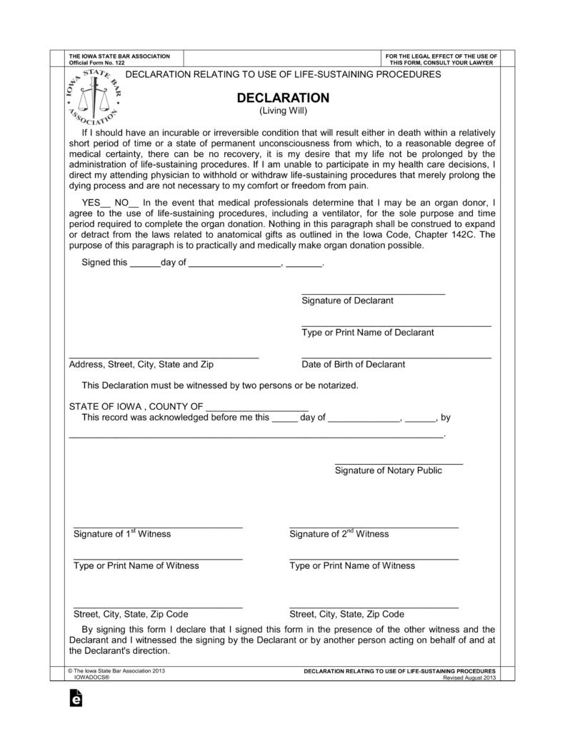Free Iowa Living Will Declaration PDF EForms