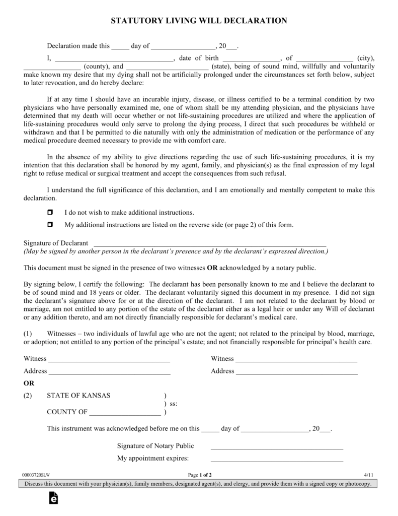 Free Kansas Living Will Declaration Form PDF EForms