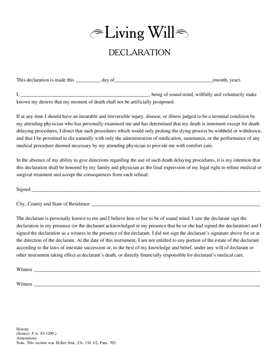 Free Living Will Form Edit Fill Sign Online Handypdf