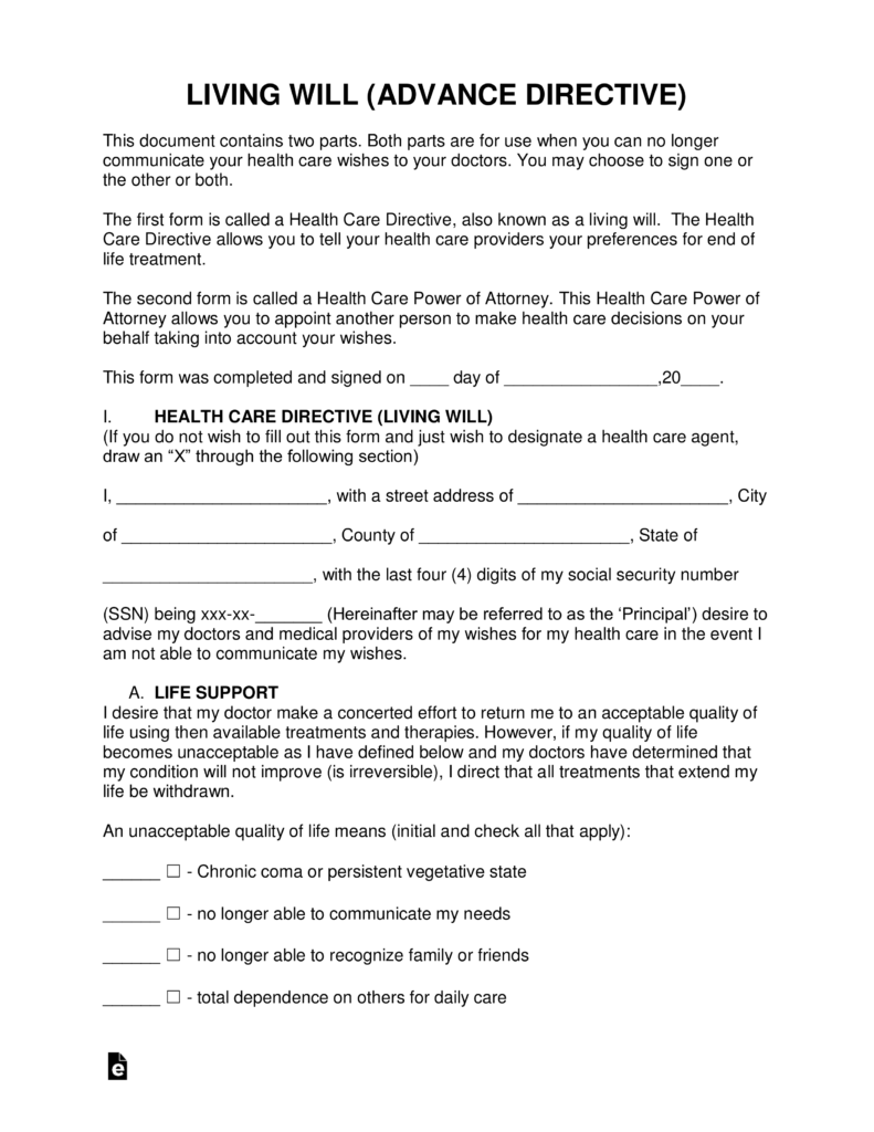 Free Living Will Forms Advance Directives Medical POA