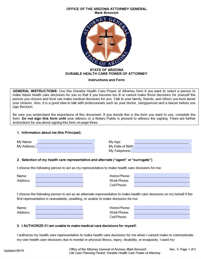 Free Medical Power Of Attorney Arizona Form PDF