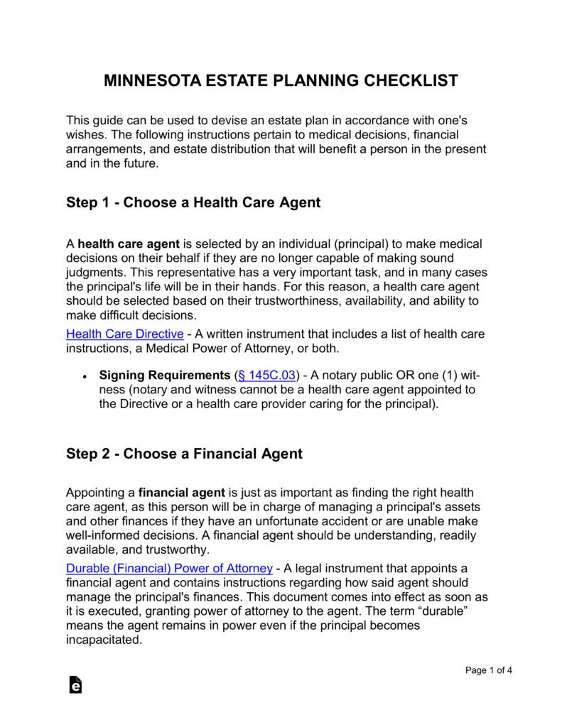 Free Minnesota Estate Planning Checklist Word PDF