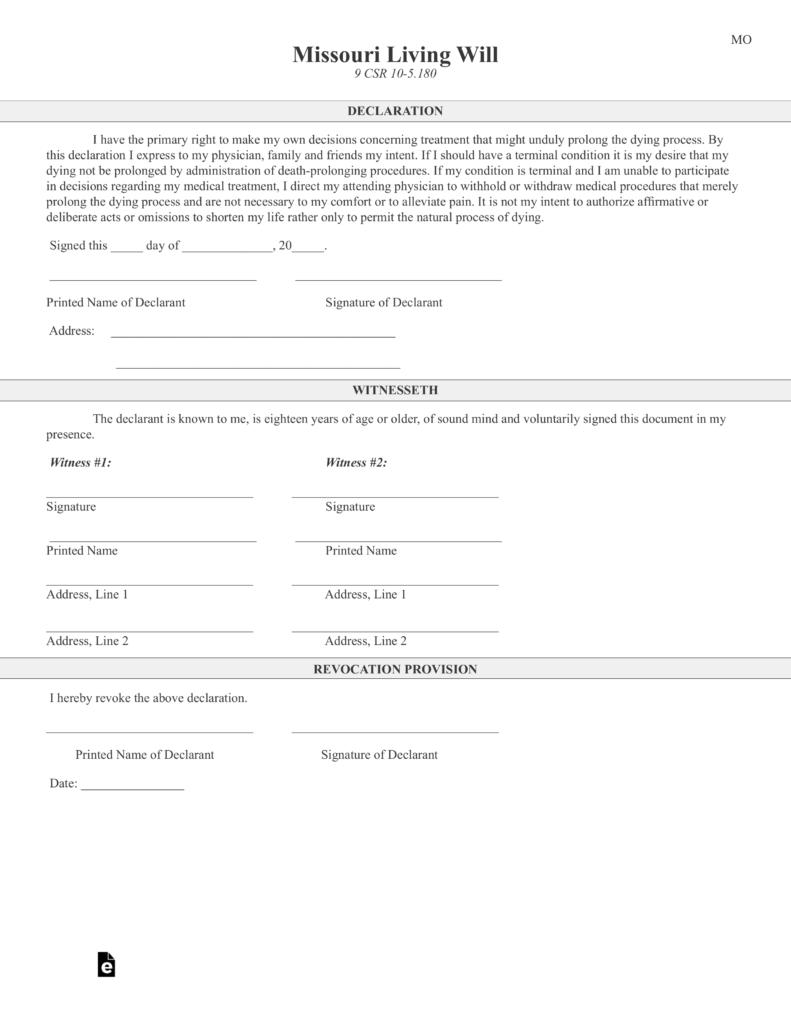 Free Missouri Living Will Declaration Form PDF EForms