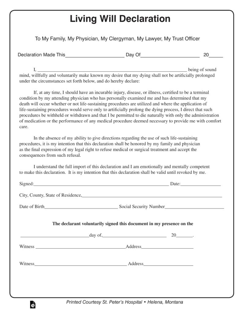 Free Montana Living Will Declaration Form PDF EForms