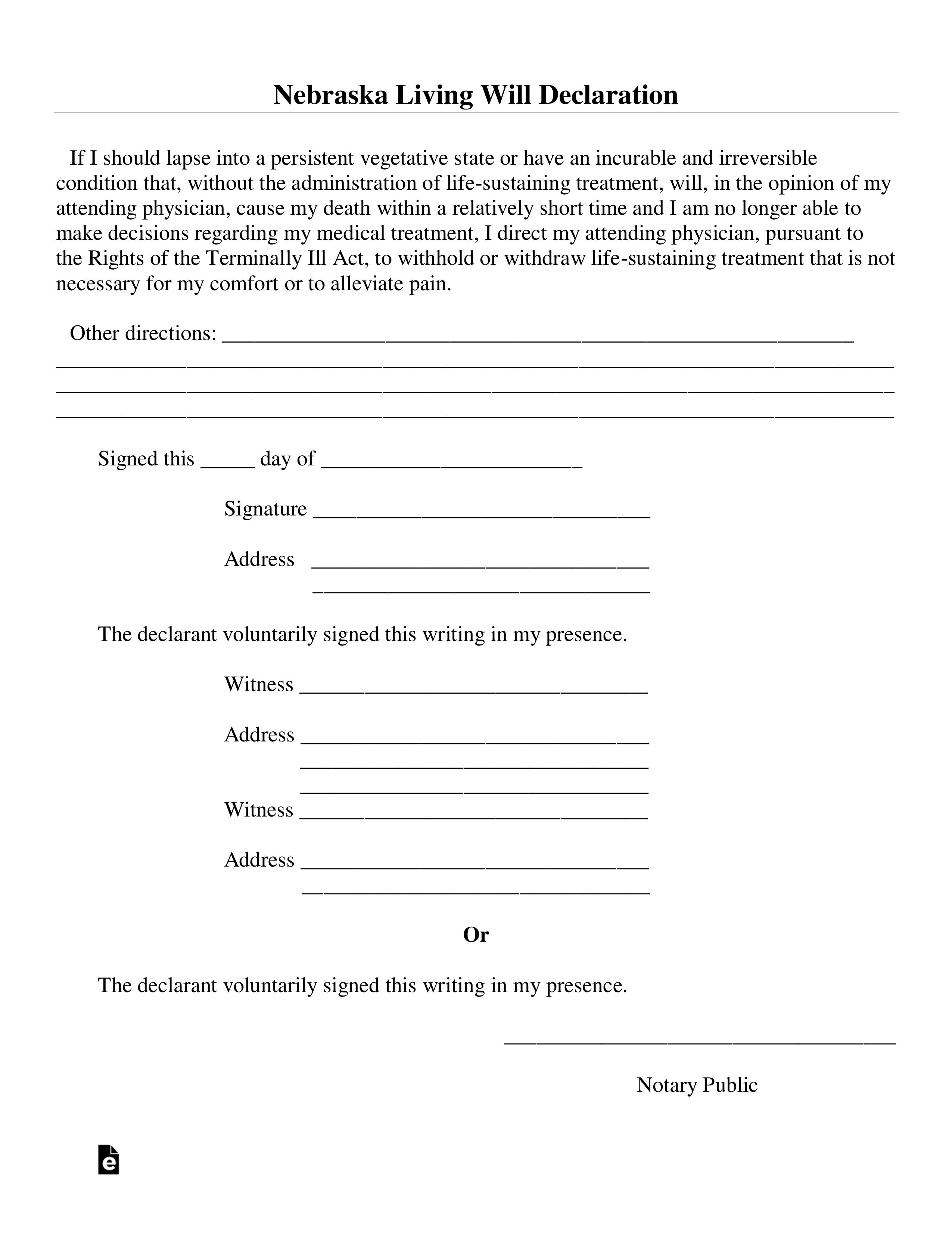 Free Nebraska Living Will Declaration Form PDF Word